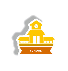stylish icon in paper sticker style building vector image