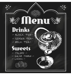 Teapot and teacup blackboard menu vector image vector image
