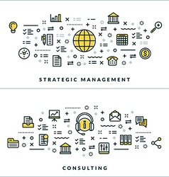 Thin Line Strategic Management and Consulting vector image vector image