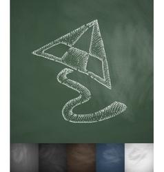 Triangular kite icon hand drawn vector
