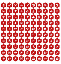 100 animals icons hexagon red vector