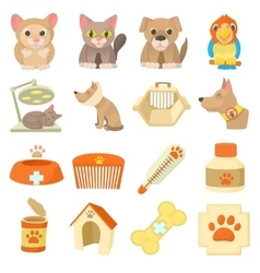 Veterinary clinic items icons set cartoon style vector