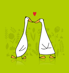 Funny goose couple sketch for your design vector