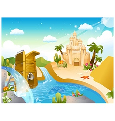 Sandcastle background vector