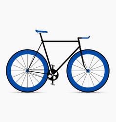 Hipster single speed bike in black and blue colors vector