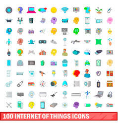 100 internet of things icons set cartoon style vector