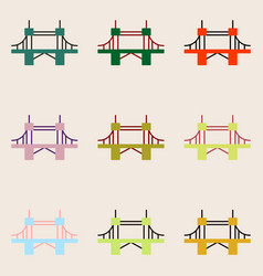 Collection of metal cable suspension bridges vector
