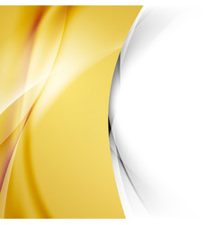 Golden smooth swoosh wave abstract border vector