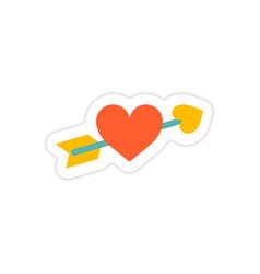 Paper sticker on white background arrow heart vector