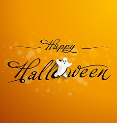 Halloween typography with funny ghost vector
