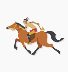 American indian warrior with axe riding horse vector
