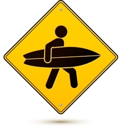 Yellow and black caution sign with surfer vector