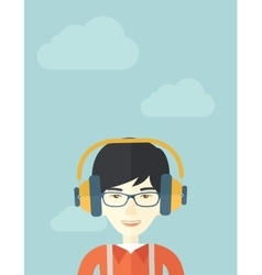 Chinese young guy with headphone vector