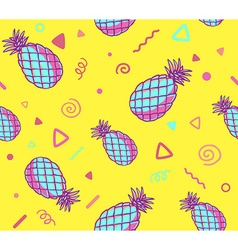 Pink and blue pattern with pineapples on vector