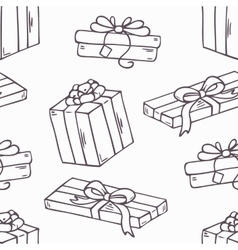 Hand drawn gift box outline seamless pattern in vector