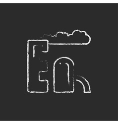 Refinery plant icon drawn in chalk vector