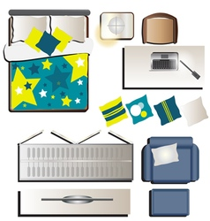 Bedroom top view set 3 for interior vector