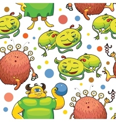 Seamless pattern of cute little monsters vector