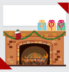 Banner template with presents on fireplace vector