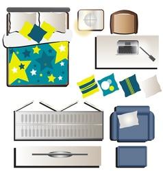 Bedroom top view set 3 for interior vector
