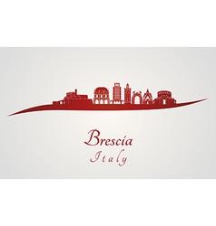 Brescia skyline in red vector image