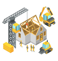 building under construction isometric pictures vector image vector image