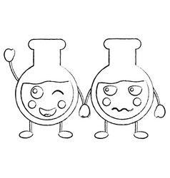 Cartoon tube tests laboratory kawaii character vector