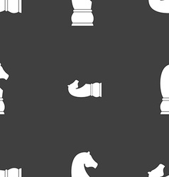 Chess knight icon sign Seamless pattern on a gray vector image