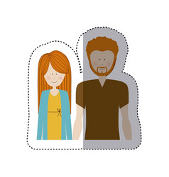 Color sticker half body with man with beard and vector