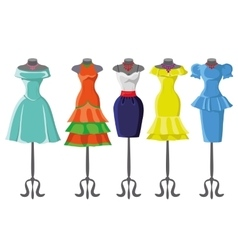 Colored summer dresses on mannequinFashion set vector image vector image