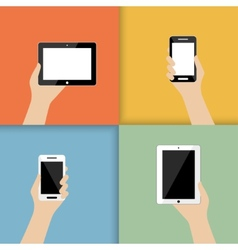 devices in hand vector image vector image