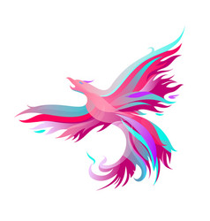 fiery phoenix in bright colors vector image vector image