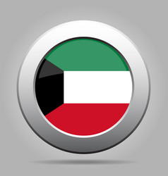 Flag of kuwait shiny metal gray round button vector