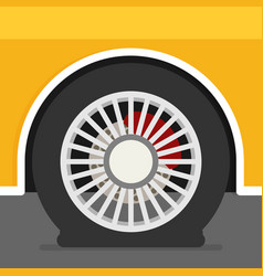 Flat tire on car vector