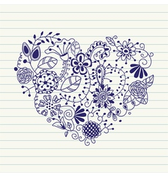 floral heart heart made of flowers doodle heart vector image vector image