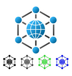 Global web nodes flat gradient icon vector