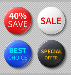 glossy 3d sale circle buttons or badges with vector image vector image