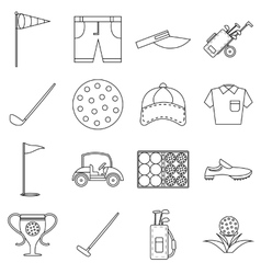 Golf icons set outline style vector