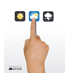 hand touching weather icons screen vector image