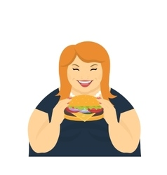 Happy fat woman eating a big hamburger vector