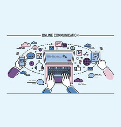 online communication lineart banner gadgets vector image