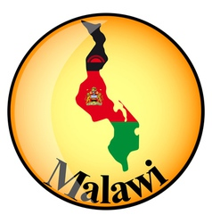 Orange button with the image maps of malawi vector