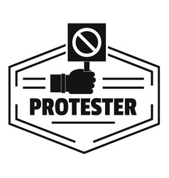 Protester logo simple black style vector