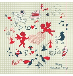 Valentines day scrapbook page with love sketch vector image