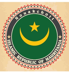 Vintage label cards of mauritania flag vector