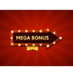 Mega bonus retro banner with glowing lamps vector