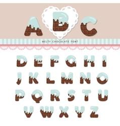 Blue cream melted on chocolate alphabet vector