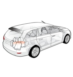 Car infographics cutaway vector