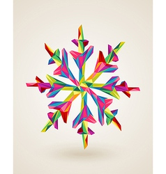 Merry Christmas multicolors snowflake vector image