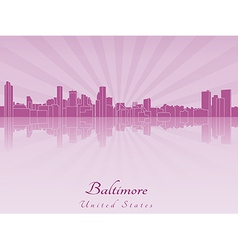 Baltimore skyline in purple radiant orchid vector